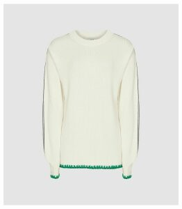 Reiss Ellena - Ribbed Knit Jumper in Cream, Womens, Size XL