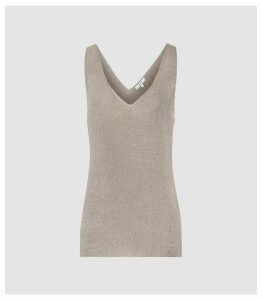 Reiss Alexis - Metallic Knitted Top in Silver, Womens, Size XL