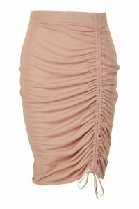 Womens Plus Ruched Midi Skirt - pink - 20, Pink