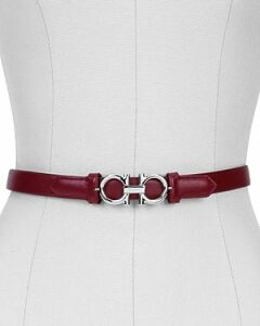 Salvatore Ferragamo Women's Gancini Slim Leather Belt