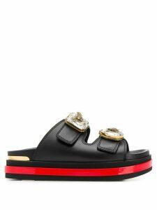 Alexander McQueen Trompe L'oeil bejewelled slide sandals - Black