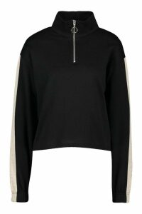 Womens Funnel Side Stripe Sweat Top - black - 10, Black