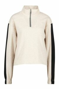 Womens Funnel Side Stripe Sweat Top - Beige - 10, Beige
