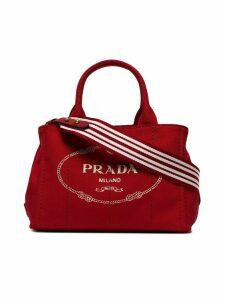 Prada Red Logo canvas tote bag