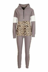 Womens Animal Print Jogger Set With Half Zip Hooded Top - grey - S/M, Grey