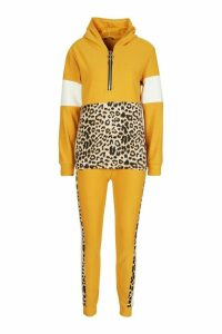 Womens Animal Print Jogger Set With Half Zip Hooded Top - yellow - S/M, Yellow