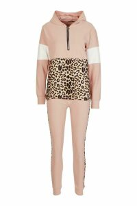 Womens Animal Print Jogger Set With Half Zip Hooded Top - Pink - S/M, Pink