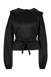 Womens Recycled Scuba Wrap Waist Hoodie - Black - 6, Black