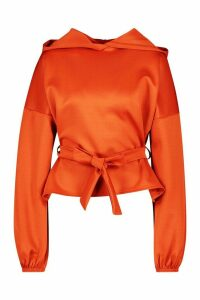 Womens Recycled Scuba Wrap Waist Hoodie - Orange - 8, Orange