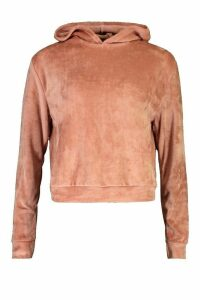 Womens Velour Oversized Hoodie - Pink - 16, Pink