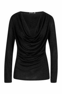 Womens Cowl Neck Long Sleeve Top - black - 14, Black