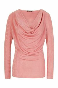 Womens Cowl Neck Long Sleeve Top - Pink - 10, Pink