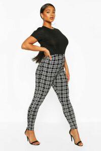 Womens Plus Check Jersey Leggings - Black - 20, Black