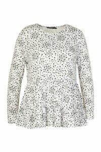 Womens Plus Heart Print Tiered Smock Top - White - 20, White