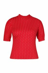 Womens Plus Heart Print Puff Sleeve Ruched Collar Top - red - 26, Red