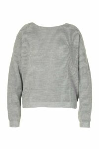 Womens Plus V-back Oversized Jumper - grey - 24/26, Grey