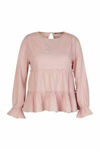 Womens Plus Woven Ruffle Long Sleeve Smock Top - pink - 24, Pink