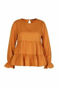 Womens Plus Woven Ruffle Long Sleeve Smock Top - Brown - 18, Brown