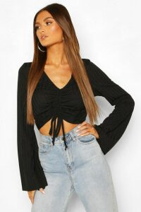 Womens Ruched Front Flared Sleeve Top - Black - 14, Black