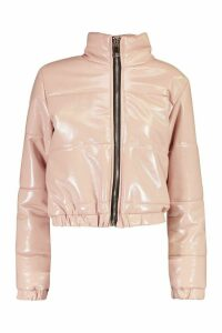 Womens Petite High Shine Vinyl Puffer Jacket - pink - 12, Pink