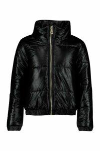 Womens Petite Metallic Puffer Jacket - Black - 14, Black