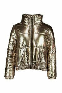 Womens Petite Metallic Puffer Jacket - Metallics - 14, Metallics