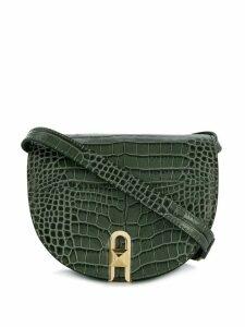 Salar embossed crocodile saddle crossbody bag - Green