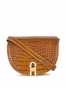 Salar embossed crocodile saddle bag - Brown