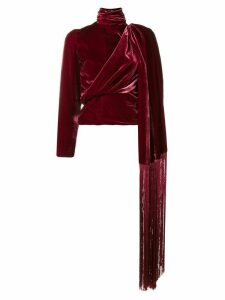 Palomo Spain velvet high neck blouse - Red