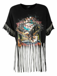 Balmain Frayed Hem Printed Top