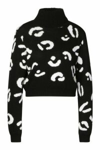 Womens Leopard Print Roll Neck Crop Jumper - Black - M/L, Black