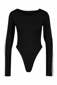 Womens Side Stripe Scoop Neck Body - black - 12, Black