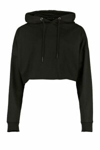 Womens Basic Cropped Hoodie - Black - 16, Black