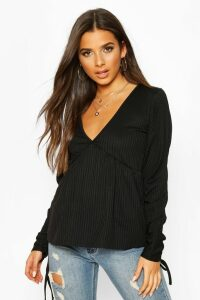 Womens Ribbed Ruched V-Neck Smock Top - Black - 10, Black