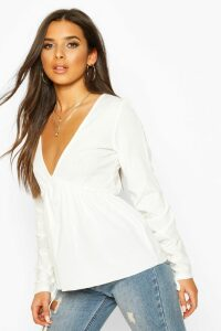 Womens Ribbed Ruched V-Neck Smock Top - White - 16, White