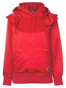Undercover frilled shoulder satin hoodie - Red