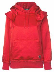Undercover frilled shoulder satin hoodie - Red