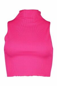 Womens Neon Lettuce Hem High Neck Top - Pink - 14, Pink