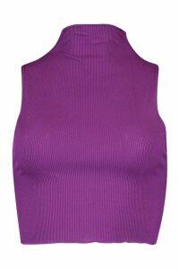 Womens Neon Lettuce Hem High Neck Top - purple - 16, Purple