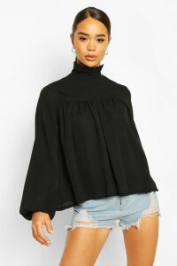 Womens High Neck Ruffle Detail Smock Top - black - 14, Black