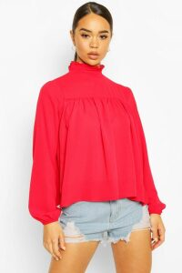 Womens High Neck Ruffle Detail Smock Top - red - 6, Red