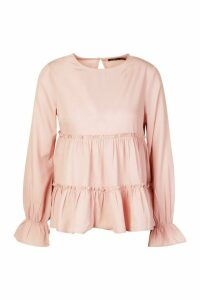 Womens Woven Ruffle Long Sleeve Smock Top - pink - 6, Pink
