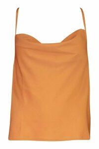 Womens Cowl Neck Cross Back Cami Top - beige - 8, Beige
