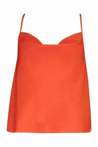 Womens Cowl Neck Cross Back Cami Top - red - 16, Red