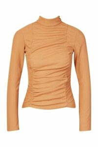 Womens Ruched Ribbed High Neck Top - beige - 16, Beige