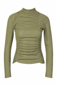 Womens Ruched Ribbed High Neck Top - Green - 14, Green