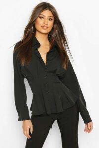 Womens Cotton Ruched Waist Shirt - black - 14, Black