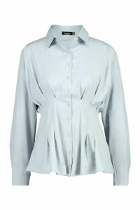 Womens Cotton Ruched Waist Shirt - blue - 14, Blue