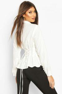 Womens Cotton Ruched Waist Shirt - white - 10, White