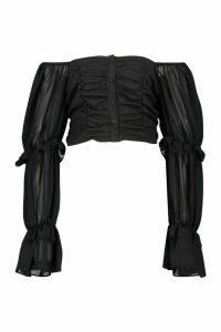 Womens Woven Ruffle Blouson Sleeve Blouse - black - 16, Black